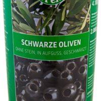 LP-Schwarze-Oliven-ohne-Stein,-in-Aufguss-geschwärzt-4250g
